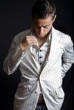 Fashion shot of one elegant man royalty free stock images