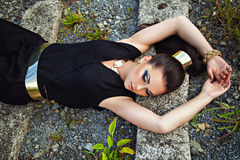 Fashion shot of stunning young woman with beautiful dark hair ly Stock Image