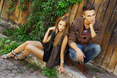 Fashion shot of a trendy boy and girl Royalty Free Stock Images