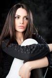 Fashion shot of a trendy european woman Stock Image
