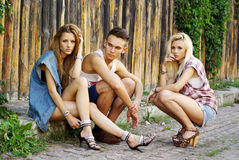 Fashion shot of a trendy group Stock Images