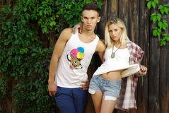 Fashion shot of a trendy young people Royalty Free Stock Photo