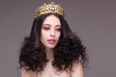 Fashion shot of a woman with diadem Royalty Free Stock Photo