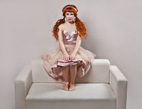 Fashion shot of woman in doll style. Royalty Free Stock Photo