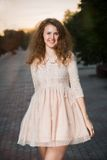 Fashion shot of woman in doll style. royalty free stock photography