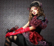Fashion shot of woman in doll style. Creative make-up.Fantasy dr Royalty Free Stock Images