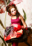 Fashion shot of woman in doll style. Creative make-up. Royalty Free Stock Photo