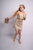 Fashion shot of woman in eco friendly clothes stock images