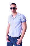Fashion Shot of a Young Man with sunglasses Royalty Free Stock Images
