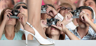 Fashion show. Photographers on fashion show. Retro Style royalty free stock photo