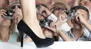 Fashion show. Photographers on fashion show. Retro Style Royalty Free Stock Images