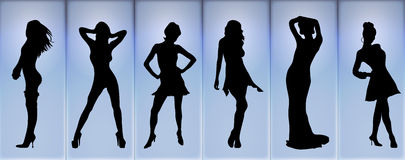 Fashion Show. Illustration of fashion models posing on a blue glowing background Royalty Free Stock Photo