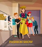 Fashion Show Backstage Illustration. Designer and girls models in colorful apparels with hats in backstage during fashion show vector illustration stock illustration