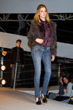 Fashion show in Barcelona. BARCELONA - JANUARY 27: Woman do a parade of Phard brand collection at The Brandery, international trade show of urban and royalty free stock image