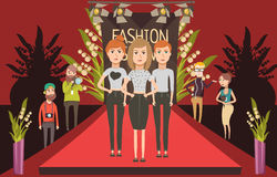 Fashion Show Catwalk Composition. Catwalk fashion set flat composition with doodle female models and journalists photographer characters on red carpet vector Stock Photography