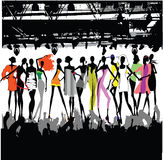 Fashion Show Crowd. Silhouette Vector Stock Photos