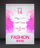 Fashion show flyer face to face pink beautiful women silhouette Stock Image