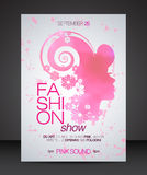 Fashion show flyer with floral hair pink beautiful woman silhouette Stock Photo