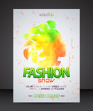 Fashion show flyer with multicolor woman silhouette with leaves hair Royalty Free Stock Photo