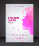 Fashion show flyer with pink watercolor silhouette of beautiful woman Stock Images