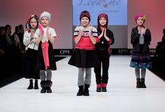 Fashion show. Kids on  podium. Stock Image