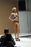 Fashion show  Lingrie Expo Autumn Moscow Young woman in black and white swimsuit Stock Photography