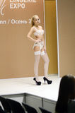 Fashion Show Lingrie Expo Moscow White lingrie and stocking Desire Sexy Traffic Royalty Free Stock Photo