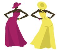 Fashion show. Models in long dresses. Hat combined with the color of the dress Stock Photos