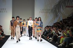 Fashion Show of New Collection in Bangkok International Fashion Week 2019, BIFW`19. Bangkok, Thailand - March 29, 2019 ; Male Model walks in Fashion Show of stock photo