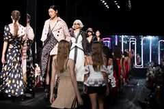 Fashion Show of New Collection in Bangkok International Fashion Week 2019, BIFW`19. Bangkok, Thailand - March 28, 2019 ; Model walks in Fashion Show Summer in ` stock photos