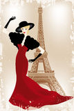 Fashion show in Paris. Eps10 vector illustration of fashion model above Eiffel tower in vintage-retro look vector illustration