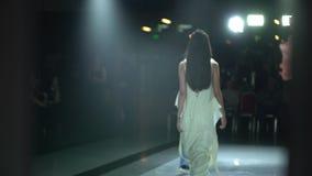 Fashion show. fashion podium, femaletop model women girls in stylish dresses of designer walking on runway at defile. Show. Fashion catwalk event showing new stock video
