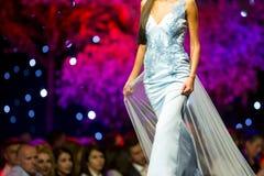 Fashion show runway beautiful blue dress Royalty Free Stock Photo