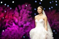 Fashion show runway beautiful wedding dress Stock Images