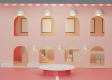 Fashion show stage with isometric building theme background. Empty scene for mock up