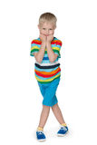Fashion shy little boy Stock Image