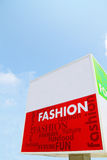 Fashion signboard (clipping). Signboard with various words associated with Fashion, clip path included royalty free stock image