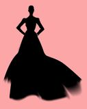 Fashion silhouette. In black against pink Stock Photography