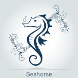 seahorse with sponge Vector illustration Stock Photography