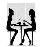 Fashion Silhouette of Two Girlfriends Having Coffee Stock Photos