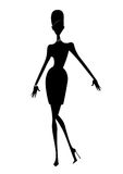 Fashion Silhouette of a Woman In a Short Dress and High Heels. Fashion illustration silhouette  of a chic woman in a short dress Royalty Free Stock Photos