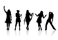 Fashion silhouettes 10. Four fashionable female silhouettes on a white background Stock Photo
