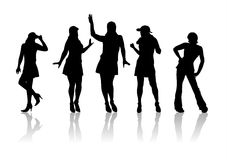 Fashion silhouettes 2. Five fashionable female silhouettes on a white background Stock Images
