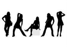 Fashion silhouettes 5. Five fashionable female silhouettes on a white background Stock Photography