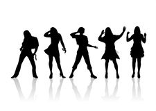 Fashion silhouettes 7. Five fashionable female silhouettes on a white background Stock Images