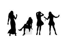 Fashion silhouettes 8. Four fashionable female silhouettes on a white background Royalty Free Stock Image