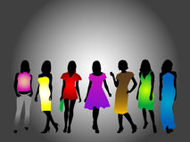 Fashion silhouettes. Illustration of girls and clothes Royalty Free Stock Image