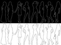 Fashion silhouettes. Illustration of fashion girls and outlines Royalty Free Stock Photos