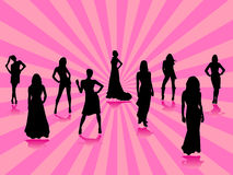 Fashion silhouettes. Illustration of fashion silhouettes and background Royalty Free Stock Images