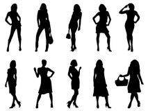 Fashion silhouettes. Illustration of black fashion silhouettes Stock Image